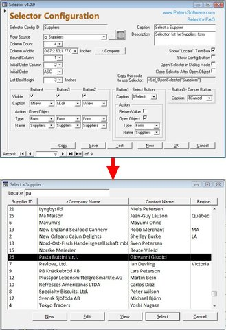 Selector for MS Access 2000