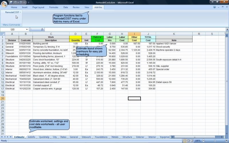 RemodelCOST Estimator for Excel