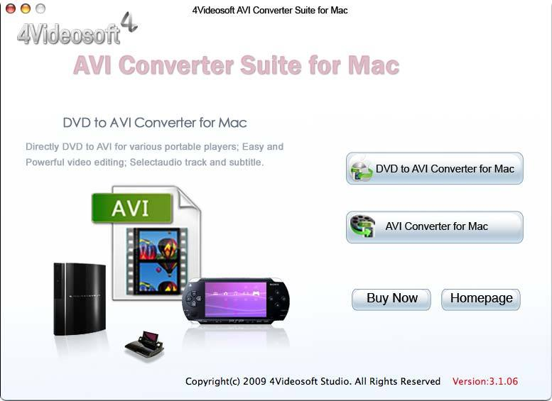 4Videosoft AVI Converter Suite for Mac