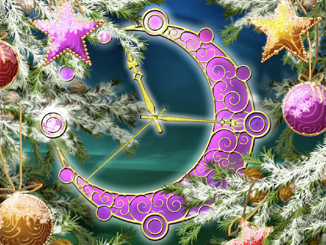 Colorful Christmas Clock screensaver