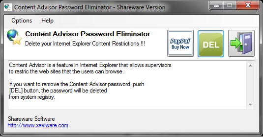 Content Advisor Password Eliminator