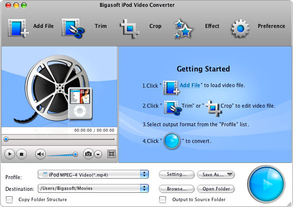 Bigasoft iPod Video Converter for Mac
