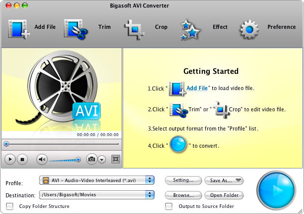 Bigasoft AVI Converter for Mac