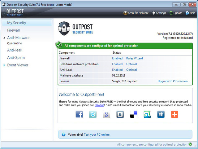 Agnitum Outpost Security Suite Free (64-bit)