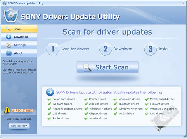 SONY Drivers Update Utility For Windows 7 64 bit
