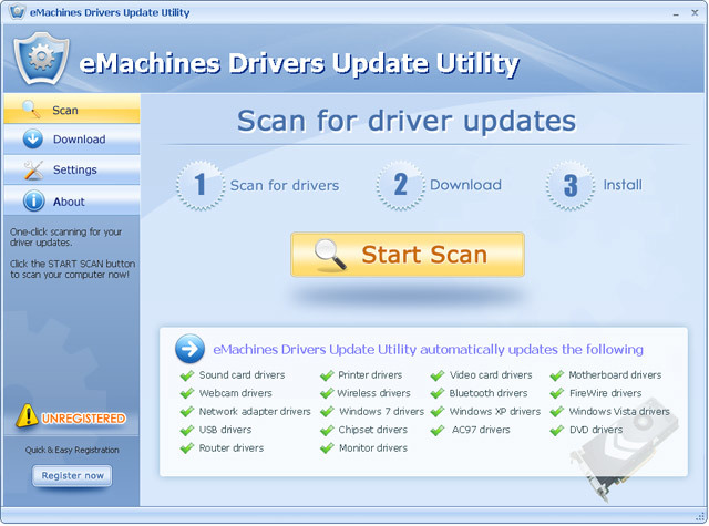 eMachines Drivers Update Utility For Windows 7 64 bit