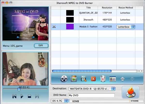 3herosoft MPEG to DVD Burner for Mac