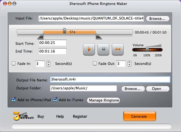 3herosoft iPhone Ringtone Maker for Mac