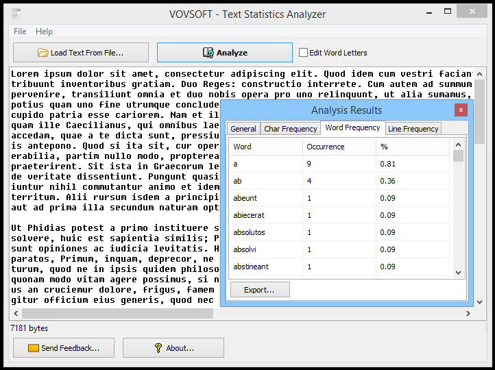 Text Statistics Analyzer