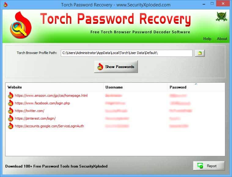 Password Recovery for Torch Browser