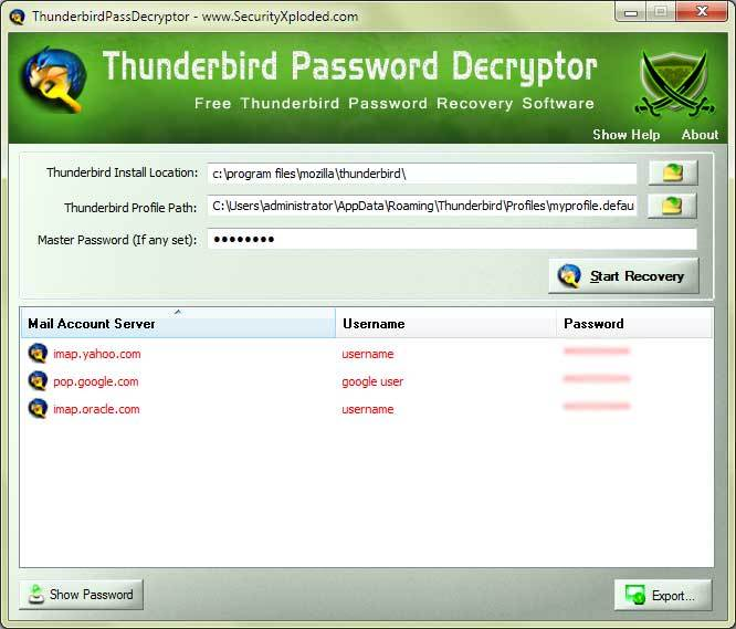 Password Decryptor for Thunderbird