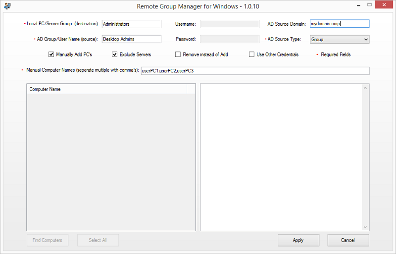 Remote Group Manager for Windows
