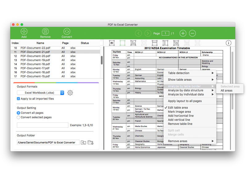 Lighten PDF to Excel Converter for Mac