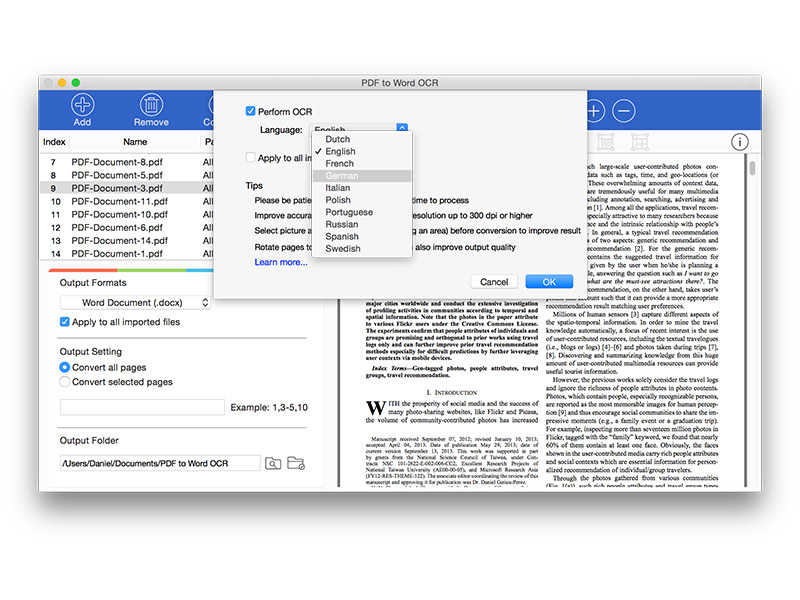 Lighten PDF to Word OCR for Mac