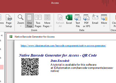 QR Code Native Access Barcode Generator