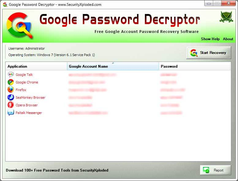 Password Decryptor for Google