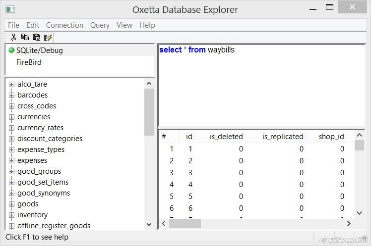 Oxetta Database Explorer