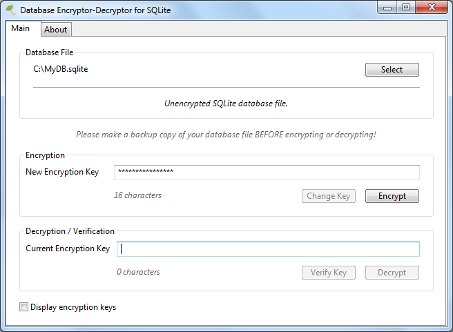 Database Encryptor/Decryptor for SQLite