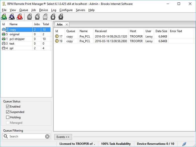 RPM Remote Print Manager Select 64 Bit