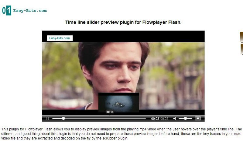 Time line thumbnails plugin Flowplayer