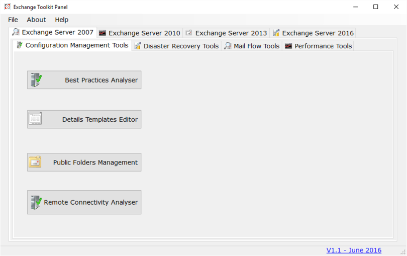 Exchange Toolkit Panel