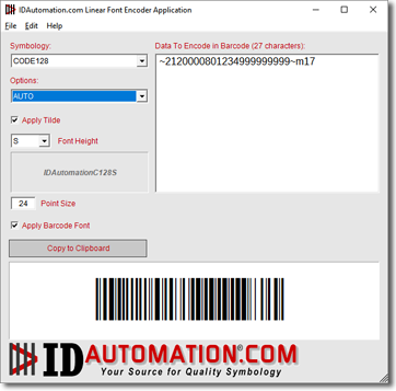 Linear Barcode Font Encoder Software App