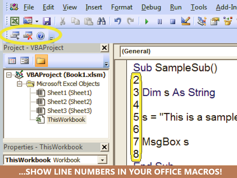 VBA Line Numbers with CodeLiner