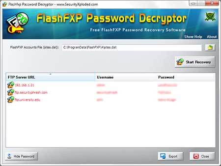 Password Decryptor for FlashFXP