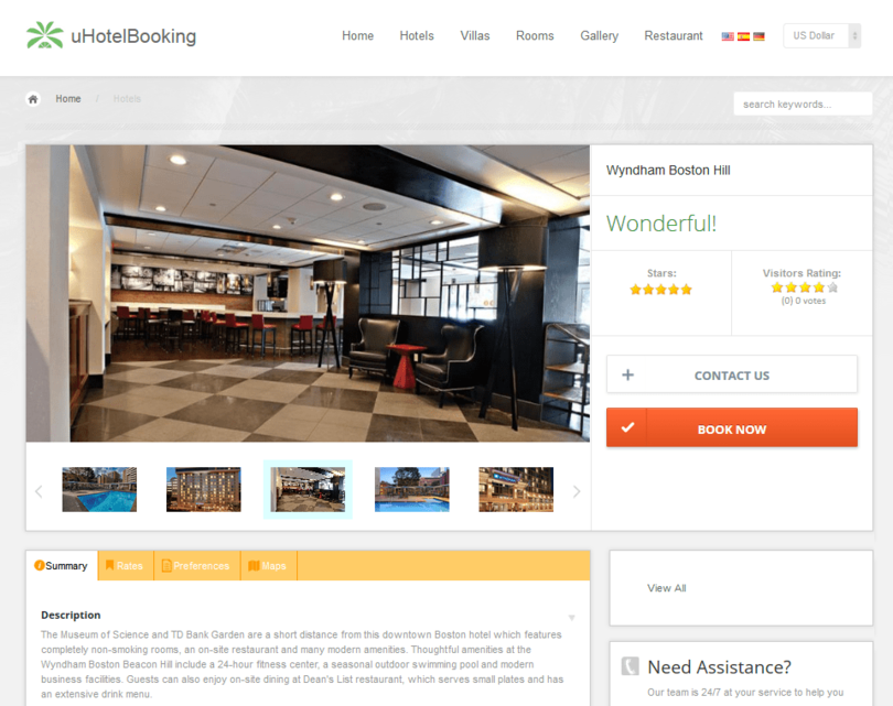 uHotelBooking web reservation system