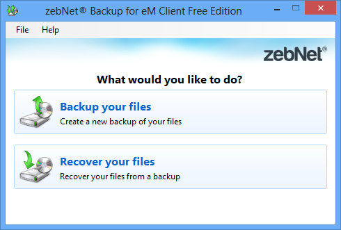 zebNet Backup for eM Client Free Edition