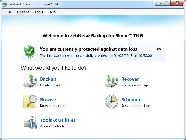 zebNet Backup for Skype