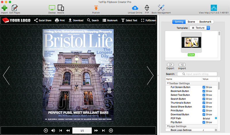 1stFlip Flipbook Creator Pro for Mac