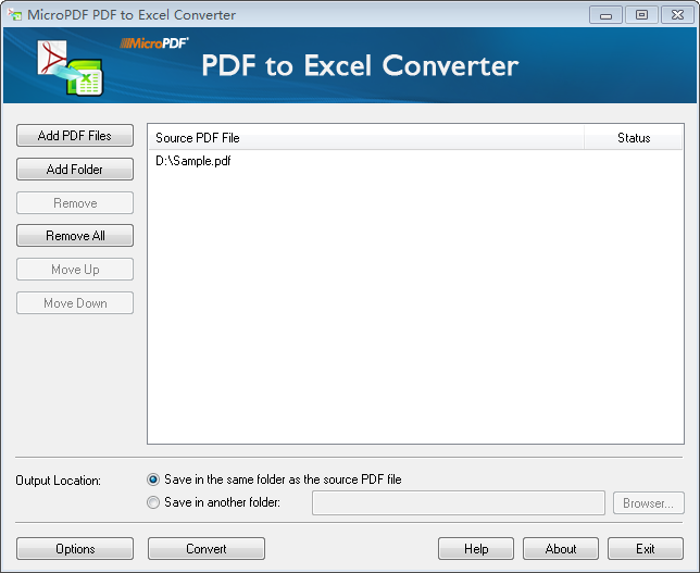 MicroPDF PDF to Excel Converter