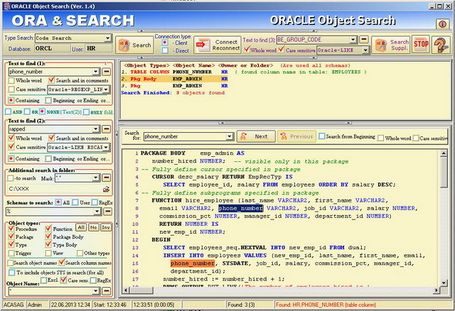 ORACLE Object Search