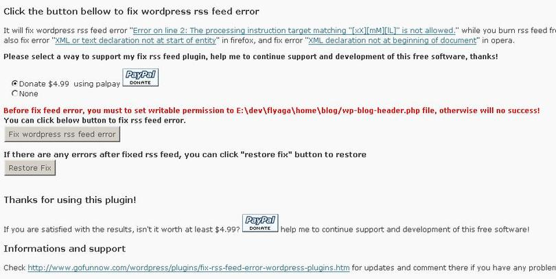 Fix rss feed for wordpress