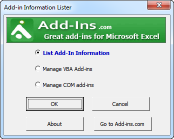 Addin Information Lister for Excel