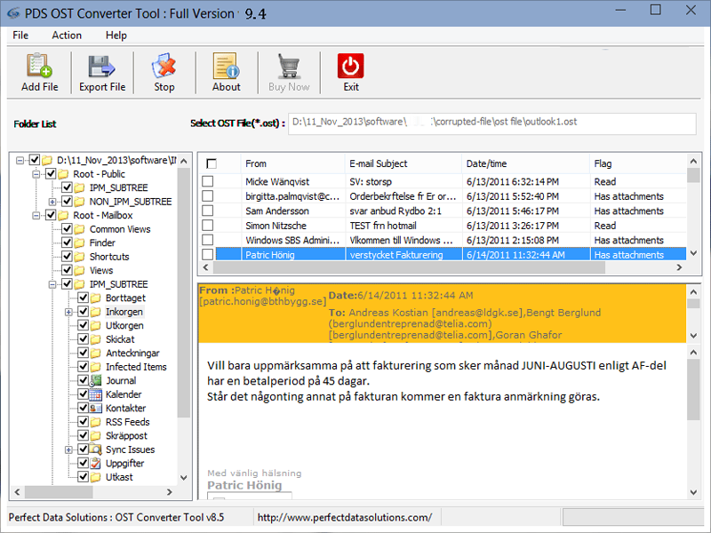 Export OST to PST 2013