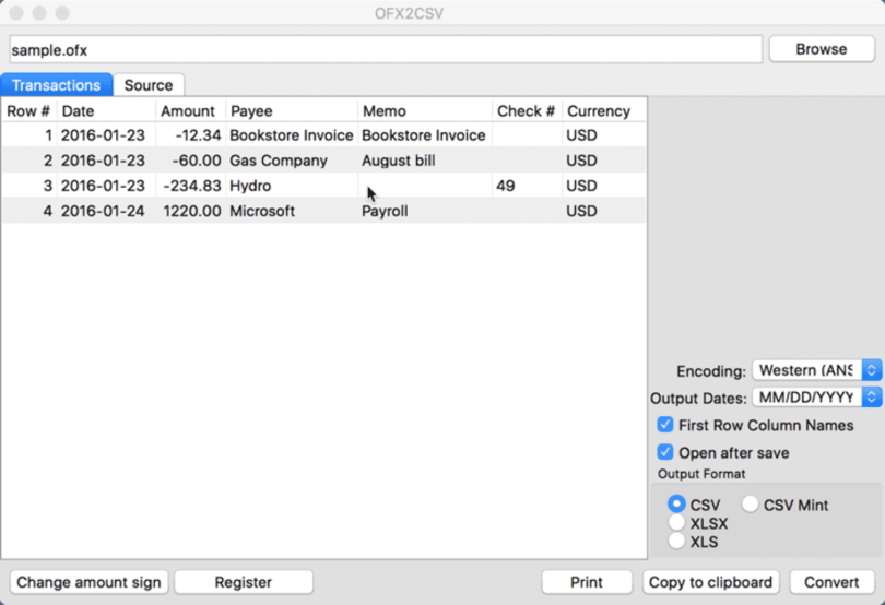 OFX2CSV for Mac