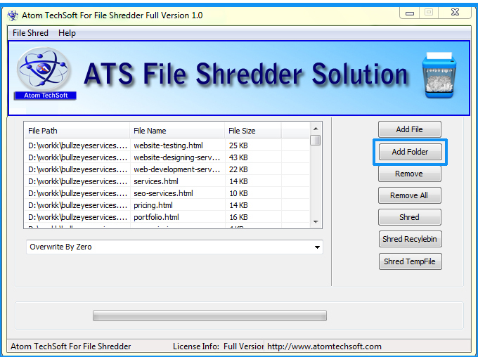 Atom TechSoft File Shredder Software
