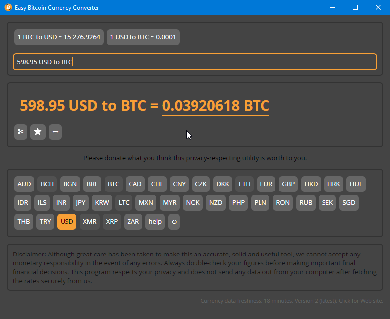 Easy Bitcoin Currency Converter
