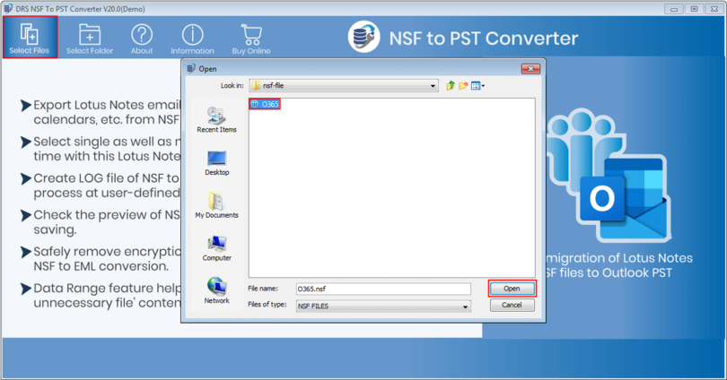 Convert NSF to Outlook Free