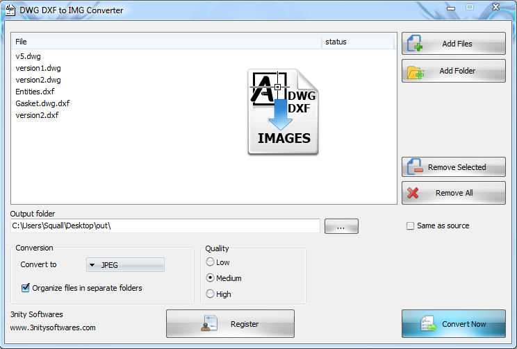 DWG DXF to Images Converter