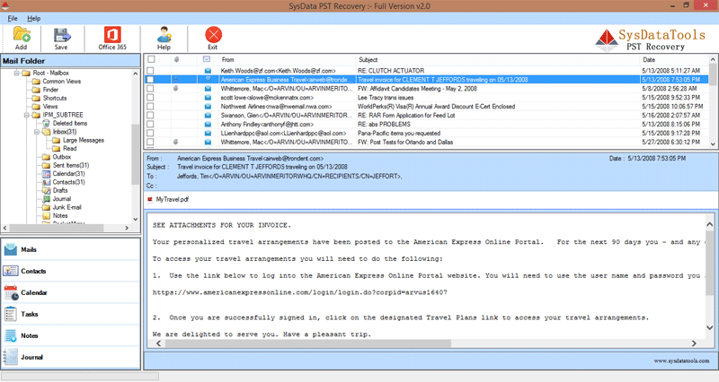 SysData Recover Outlook PST File
