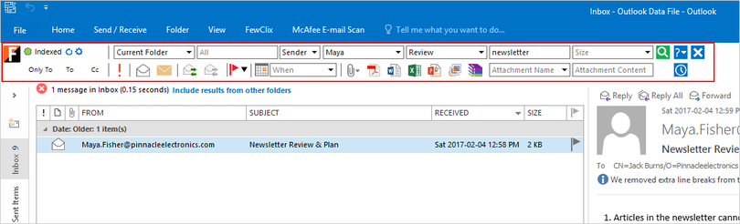FewClix for Outlook
