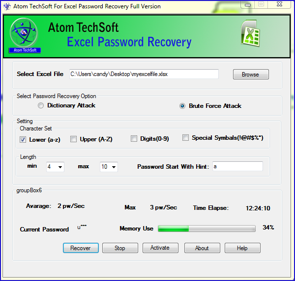 ATS Excel Password Recovery Software