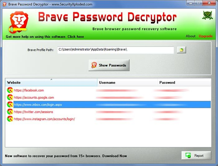 Brave Password Decryptor