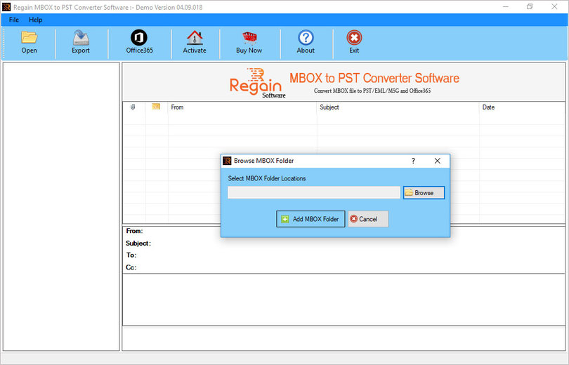 Regain MBOX File to PST Converter