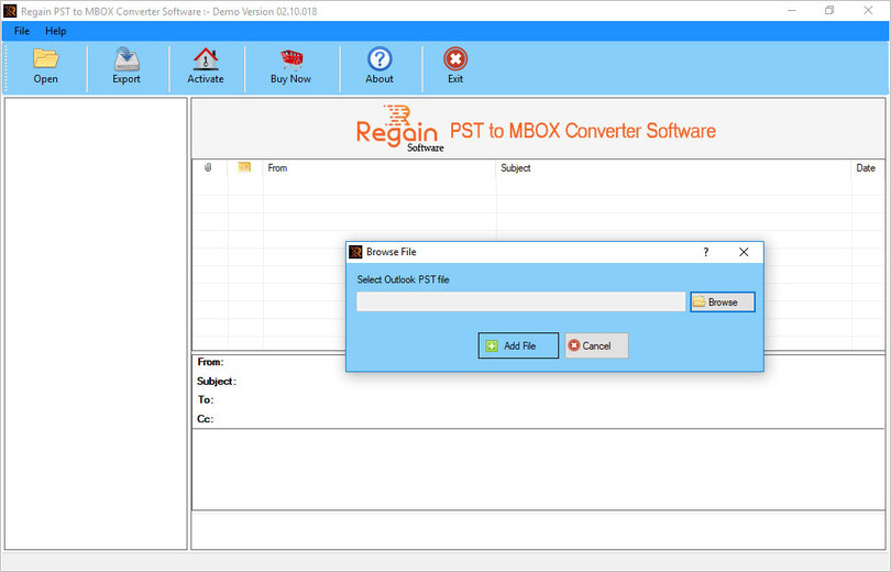 Regain PST to MBOX File Converter