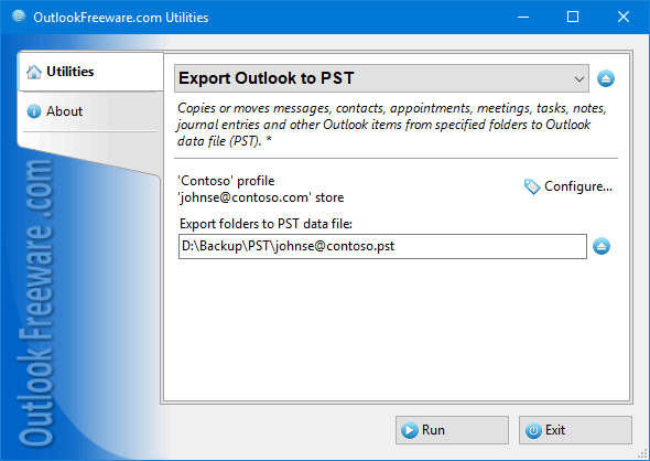 Export Outlook to PST