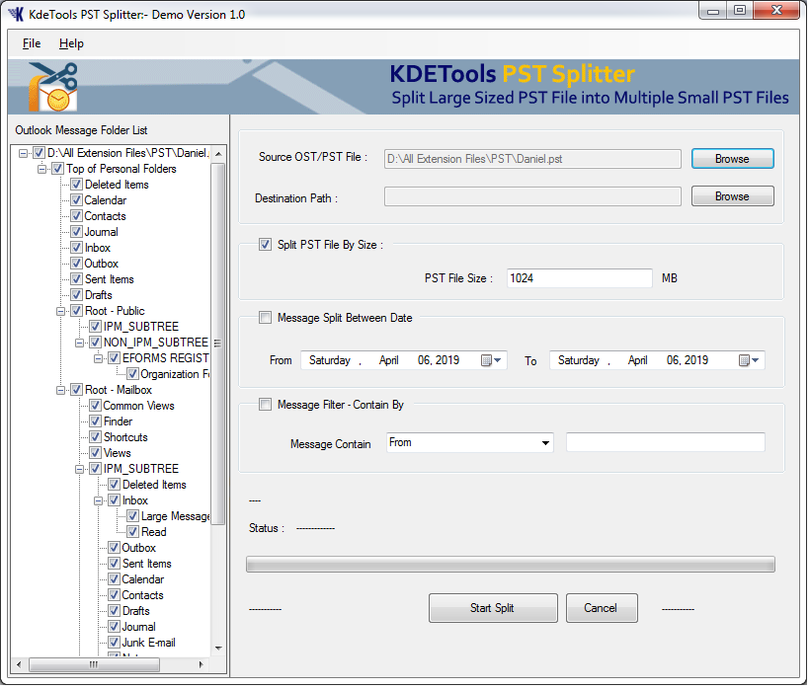 KDETools Outlook PST Splitter